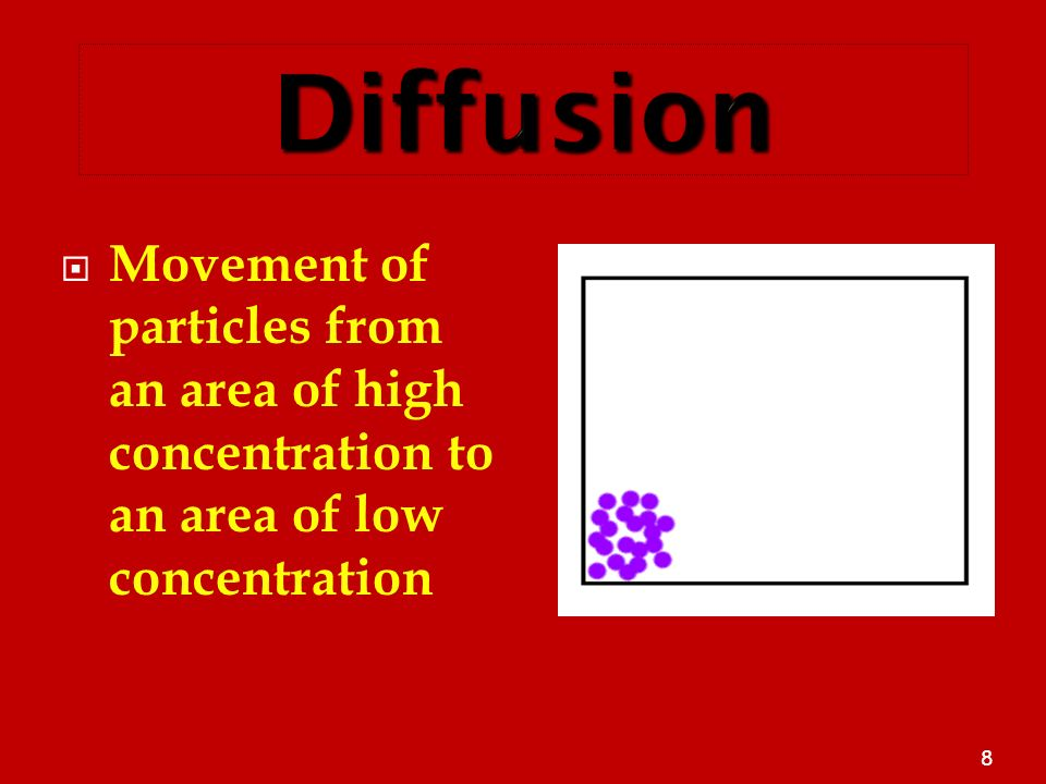 The Plasma Membrane 3/25/2017. Diffusion. Movement of particles from an area of high concentration to an area of low concentration.