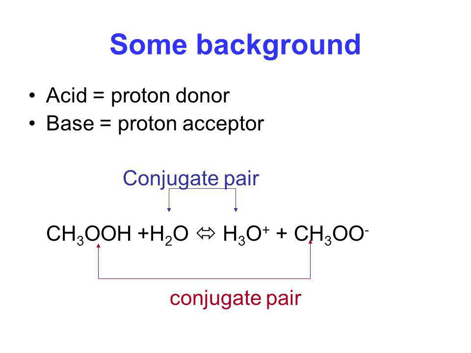 Some background Acid = proton donor Base = proton acceptor