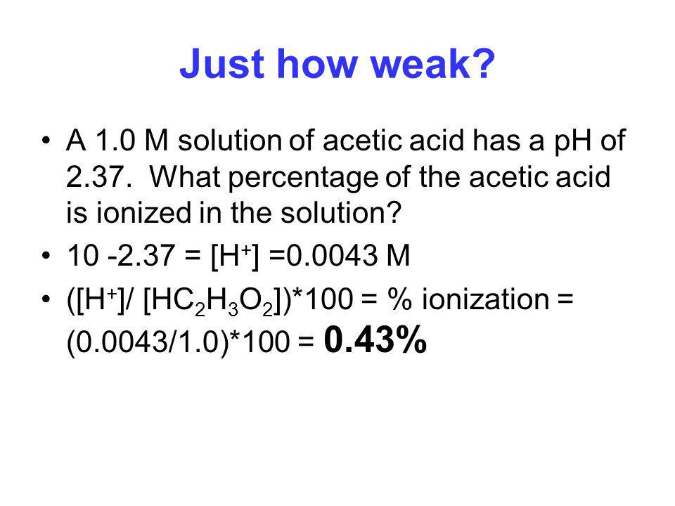Just how weak A 1.0 M solution of acetic acid has a pH of 2.37. What percentage of the acetic acid is ionized in the solution