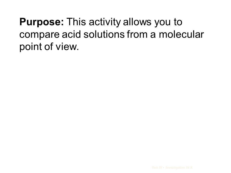 Purpose: This activity allows you to compare acid solutions from a molecular point of view.