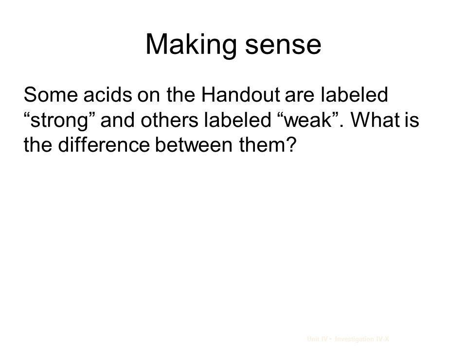 Making sense Some acids on the Handout are labeled strong and others labeled weak . What is the difference between them