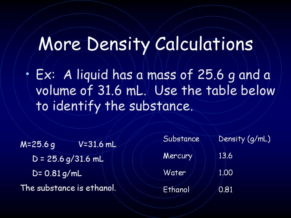 More Density Calculations