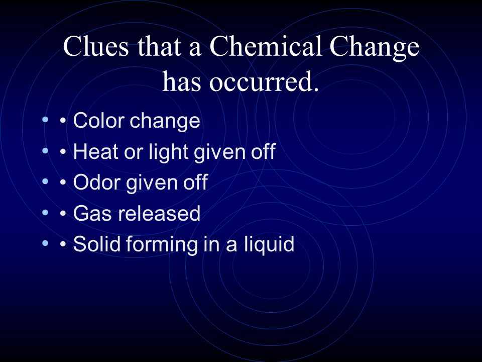 Clues that a Chemical Change has occurred.