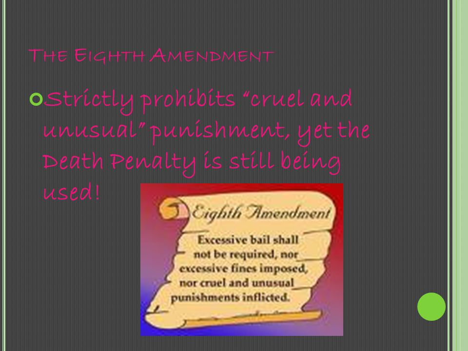 The Eighth Amendment Strictly prohibits cruel and unusual punishment, yet the Death Penalty is still being used!
