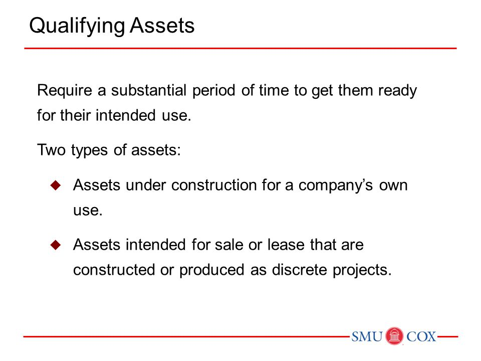 Qualifying Assets Require a substantial period of time to get them ready for their intended use. Two types of assets: