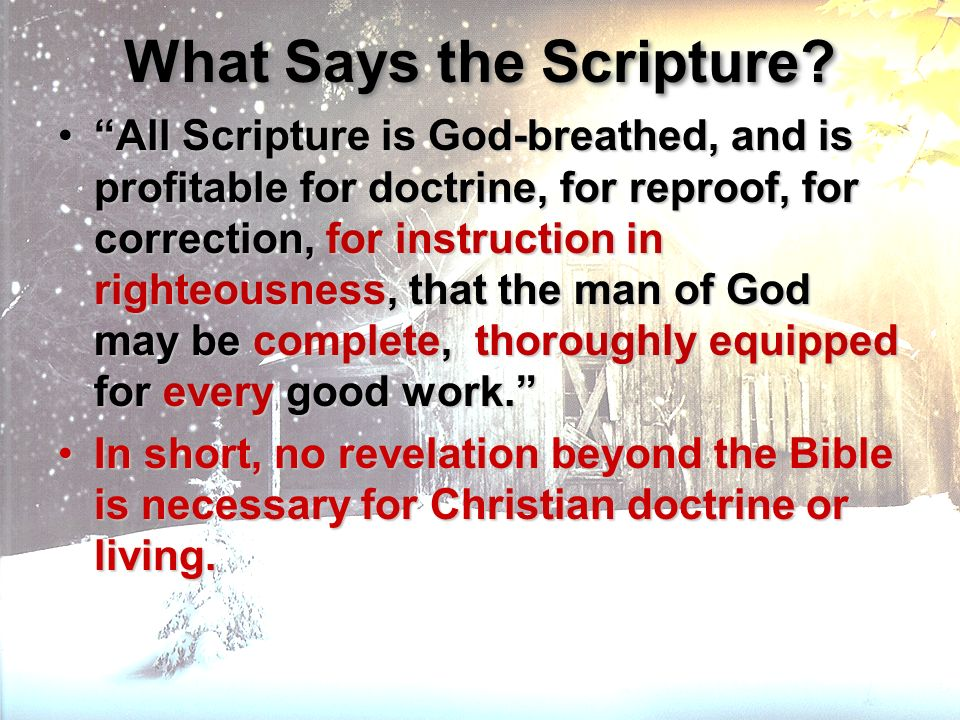 What Says the Scripture