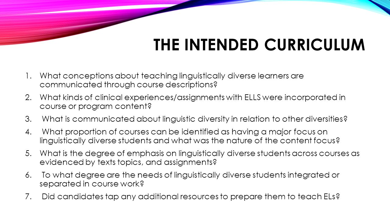 The Intended Curriculum