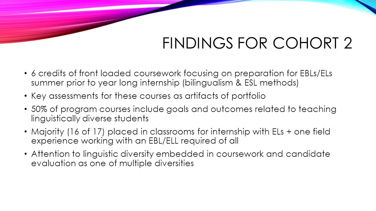 Findings for Cohort 2