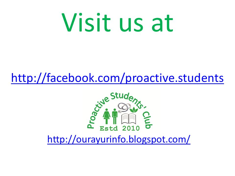Visit us at http://facebook.com/proactive.students