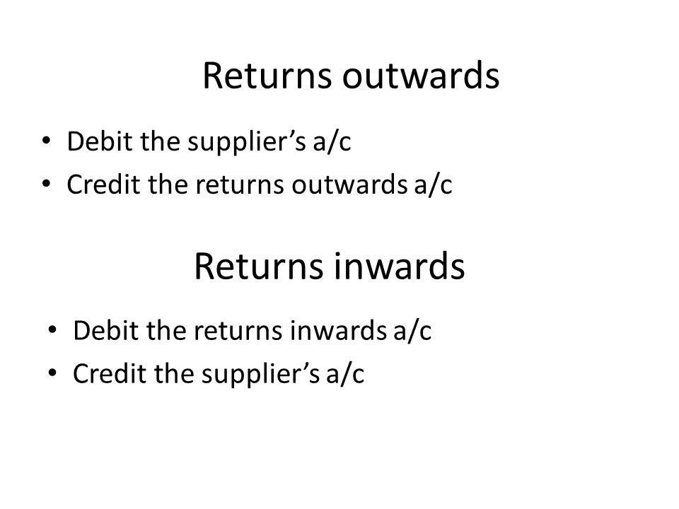 Returns outwards Returns inwards Debit the supplier's a/c