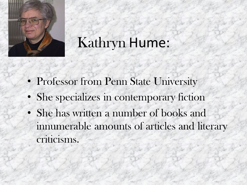 Kathryn Hume: Professor from Penn State University