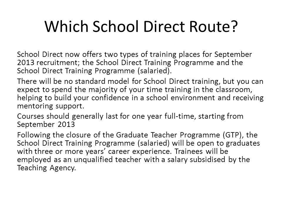 Which School Direct Route