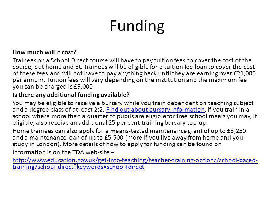 Funding How much will it cost