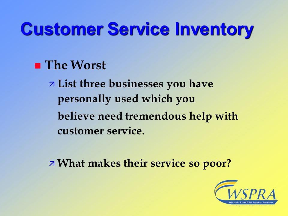 Customer Service Inventory