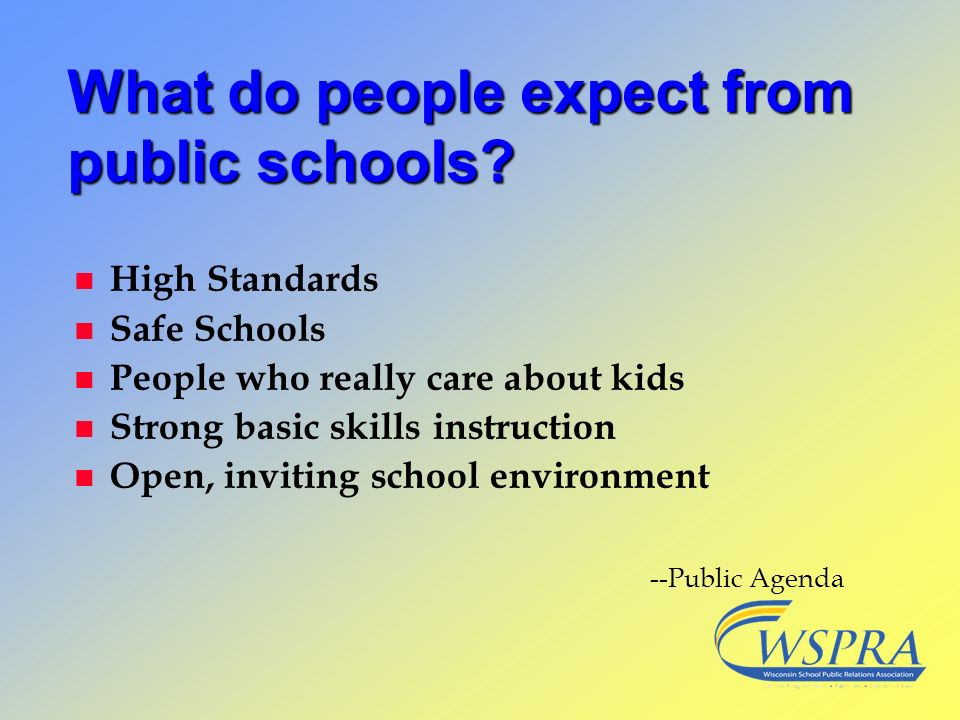 What do people expect from public schools