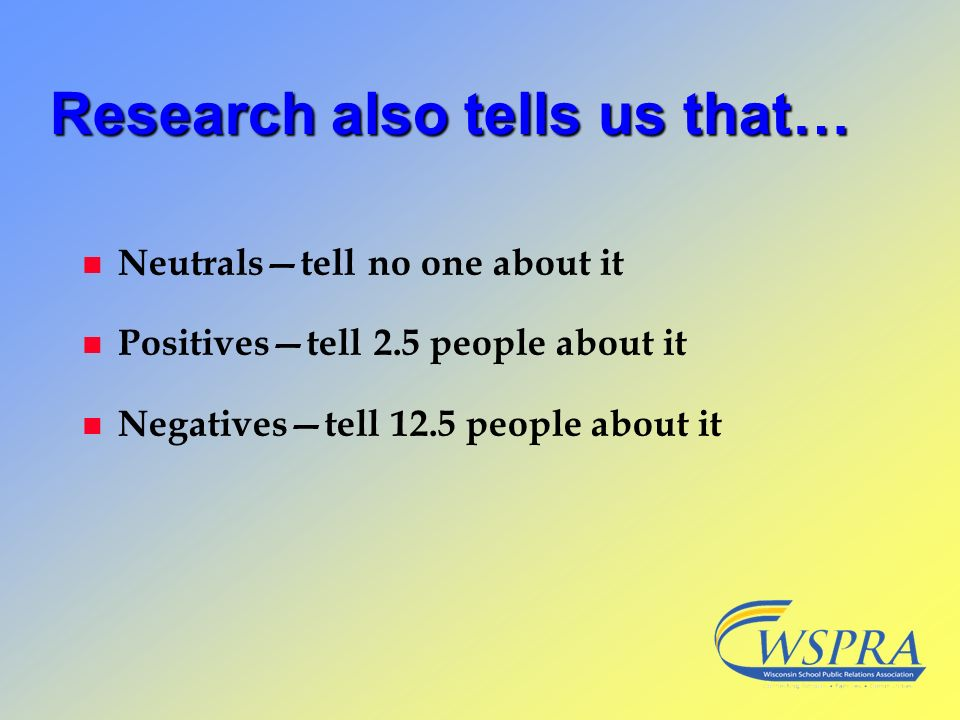 Research also tells us that…