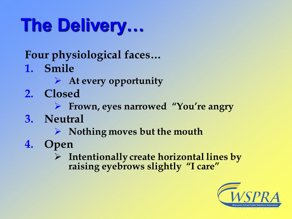 The Delivery… Four physiological faces… Smile Closed Neutral Open