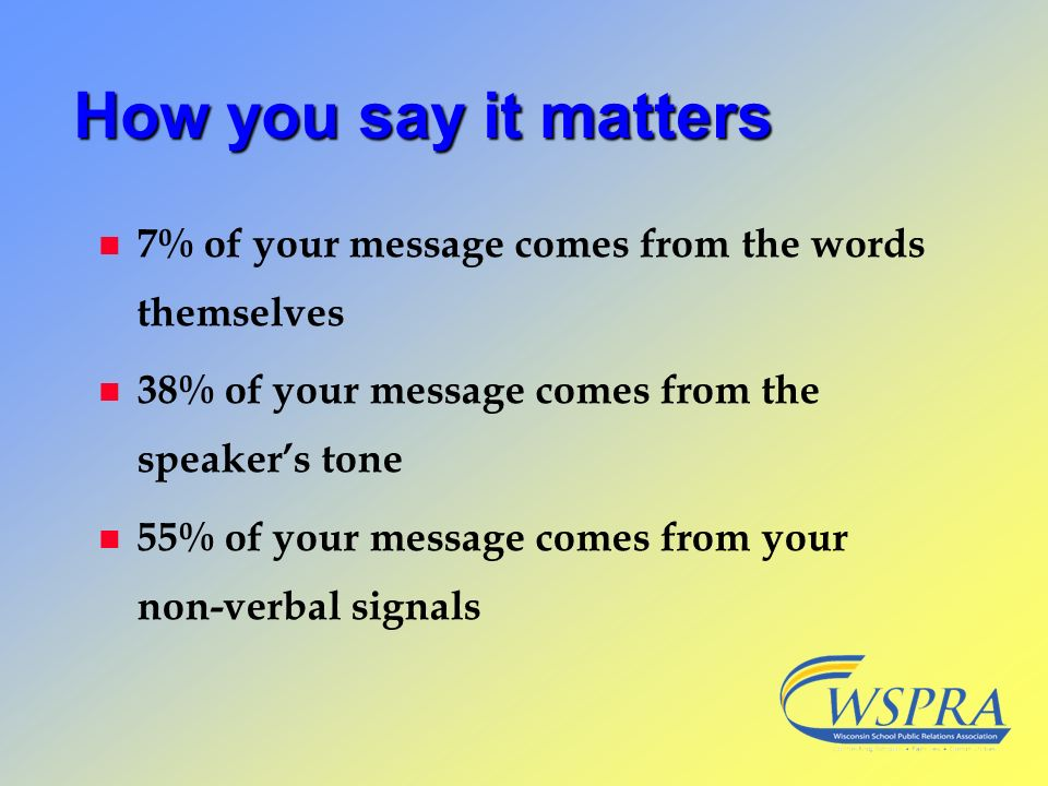 How you say it matters 7% of your message comes from the words themselves. 38% of your message comes from the speaker's tone.