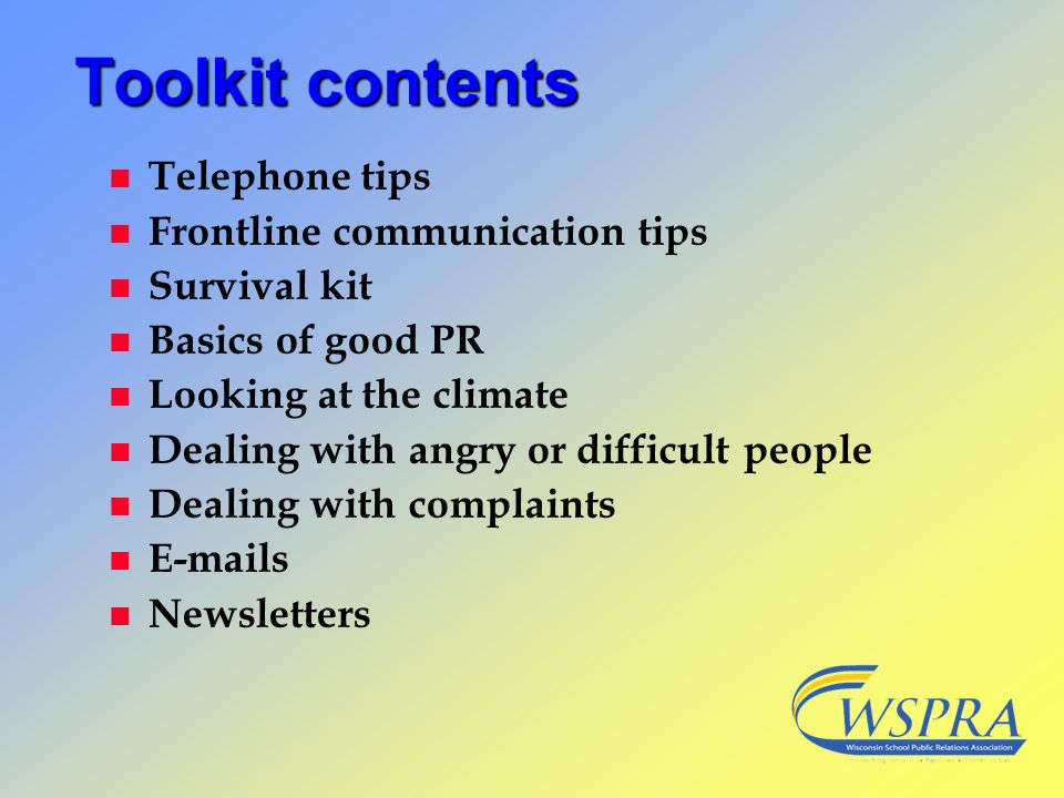 Toolkit contents Telephone tips Frontline communication tips