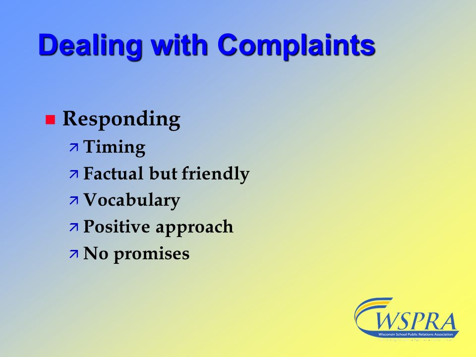 Dealing with Complaints