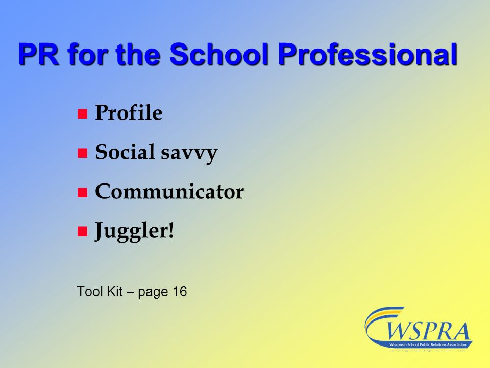 PR for the School Professional