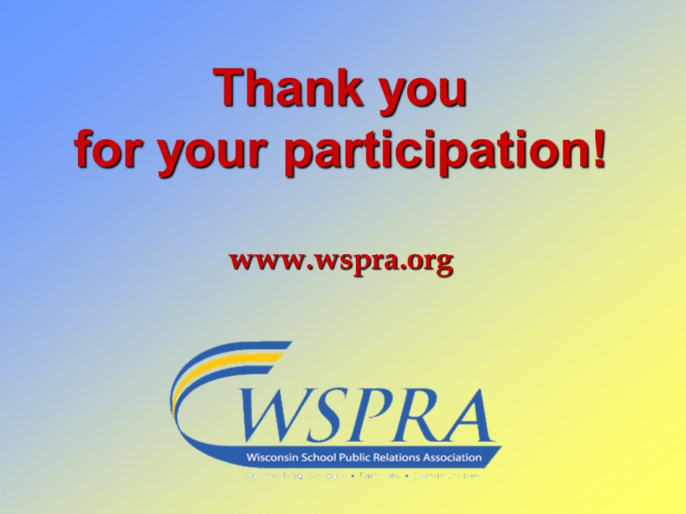 Thank you for your participation! www.wspra.org