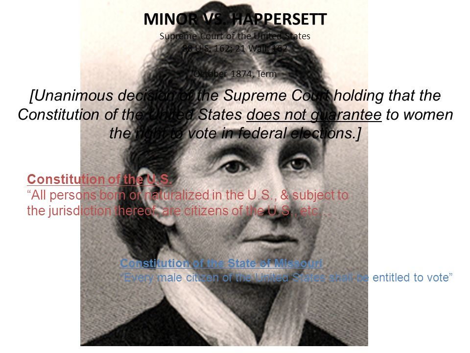 MINOR VS. HAPPERSETT Supreme Court of the United States 88 U. S