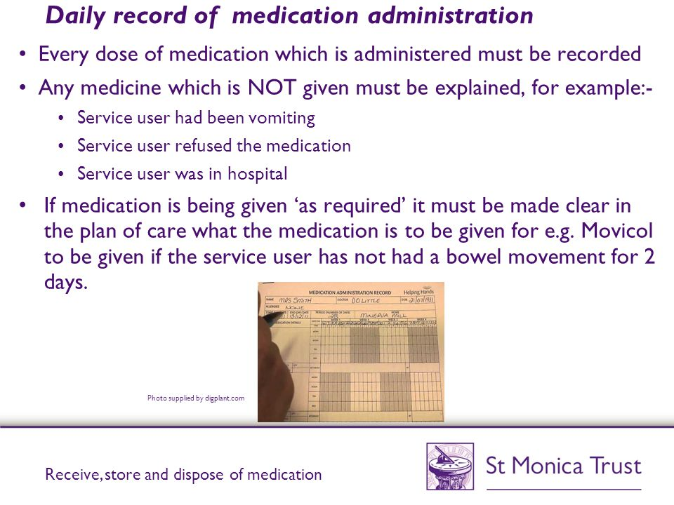 Daily record of medication administration
