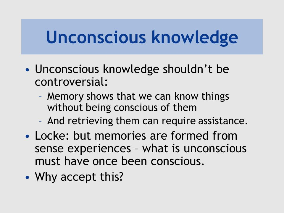 Unconscious knowledge