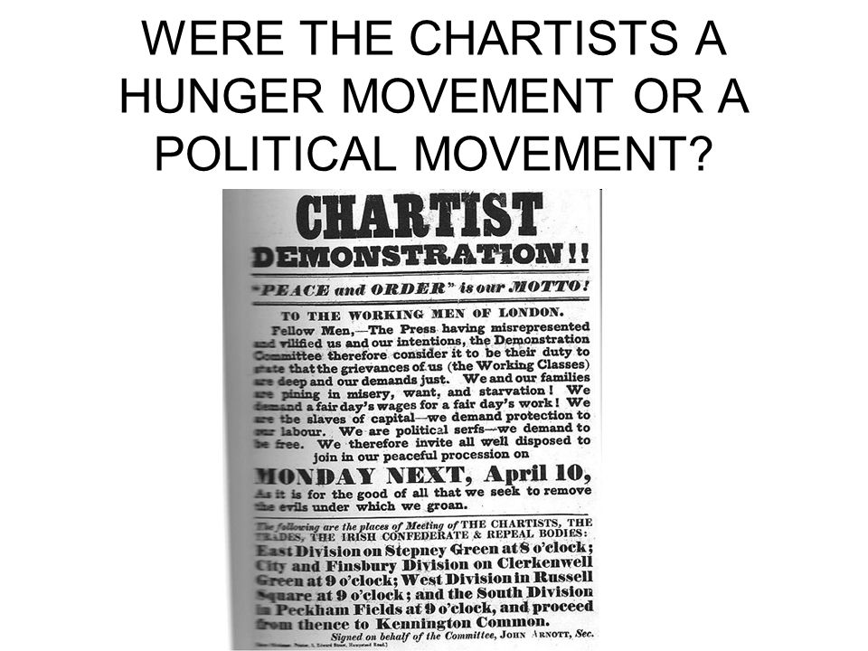 WERE THE CHARTISTS A HUNGER MOVEMENT OR A POLITICAL MOVEMENT