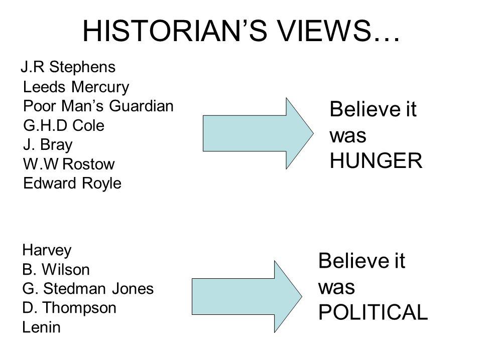HISTORIAN'S VIEWS… Believe it was HUNGER Believe it was POLITICAL