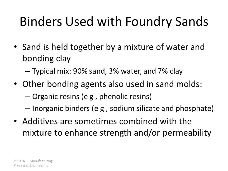 Binders Used with Foundry Sands