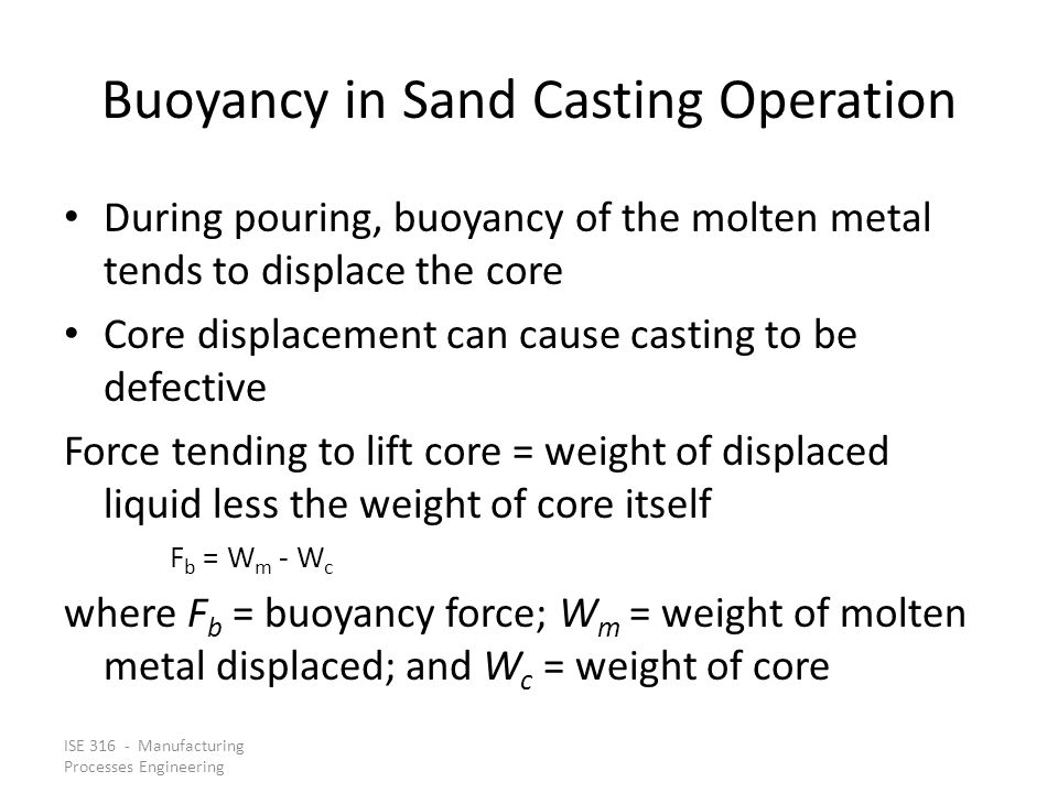 Buoyancy in Sand Casting Operation