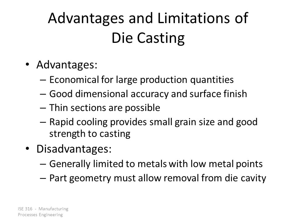 Advantages and Limitations of Die Casting