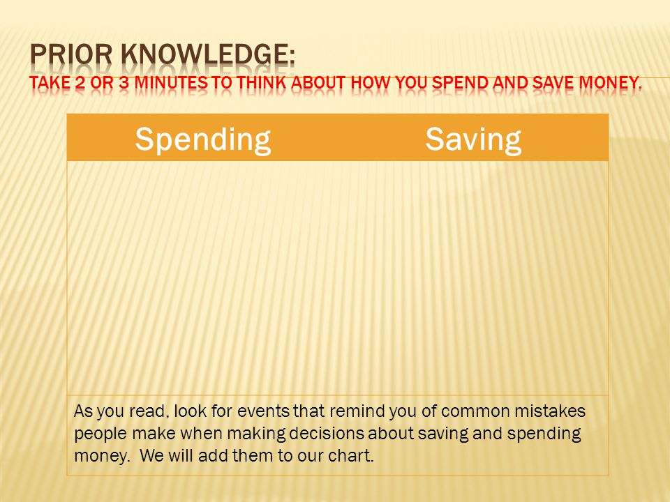 Prior Knowledge: Take 2 or 3 minutes to think about how you spend and save money.