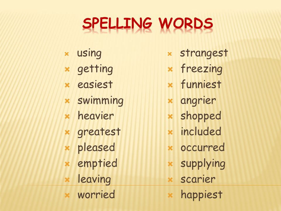 Spelling Words getting easiest swimming heavier greatest pleased