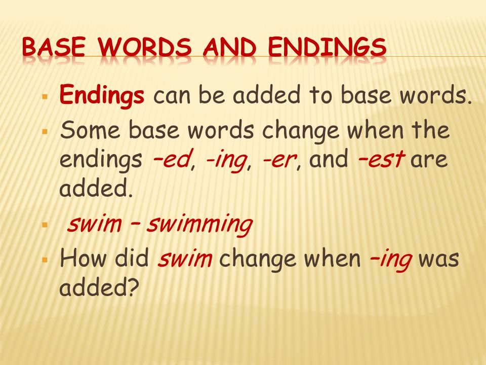 Base Words and Endings Endings can be added to base words. Some base words change when the endings –ed, -ing, -er, and –est are added.