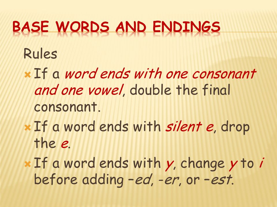 Base Words and Endings Rules. If a word ends with one consonant and one vowel, double the final consonant.