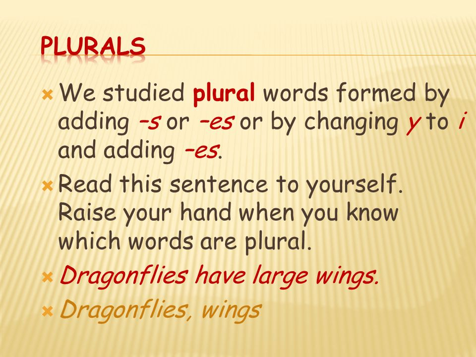 Plurals We studied plural words formed by adding –s or –es or by changing y to i and adding –es.
