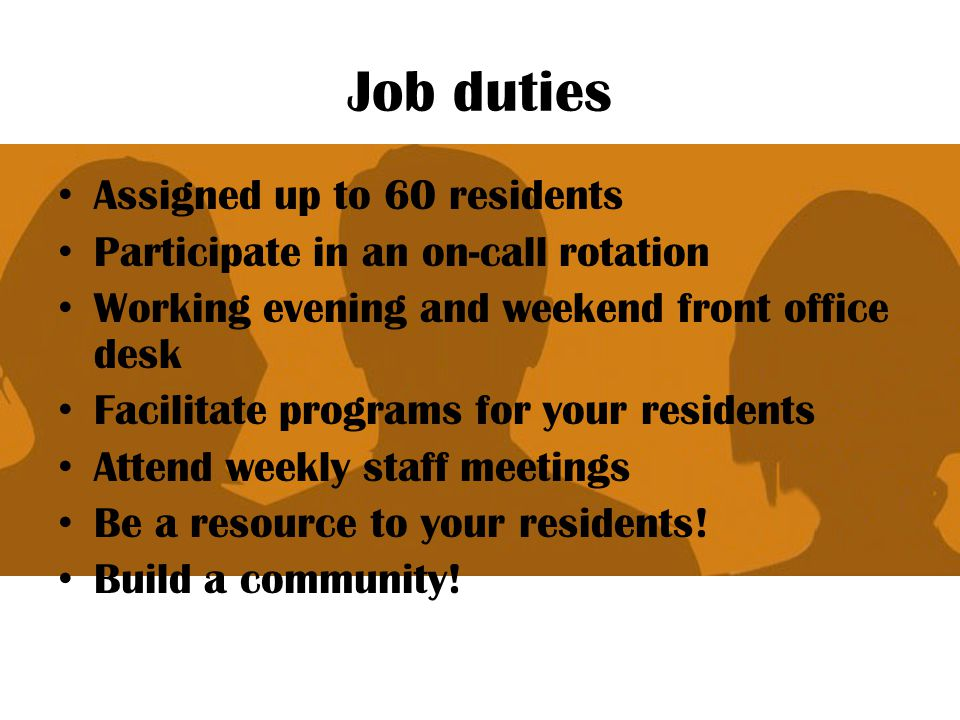 Resident Assistant Job Description