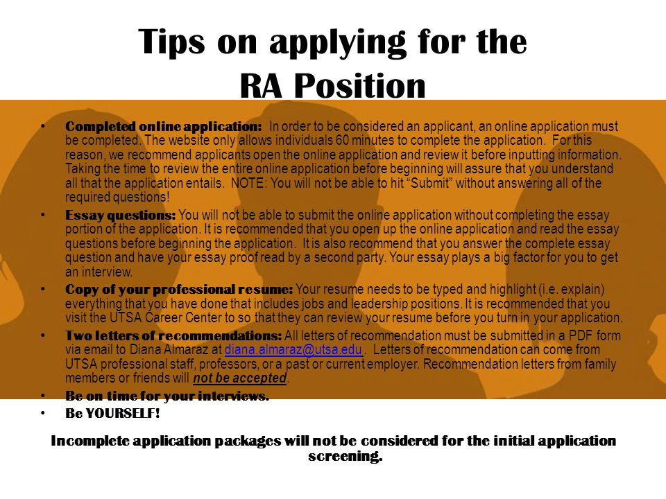Tips on applying for the RA Position