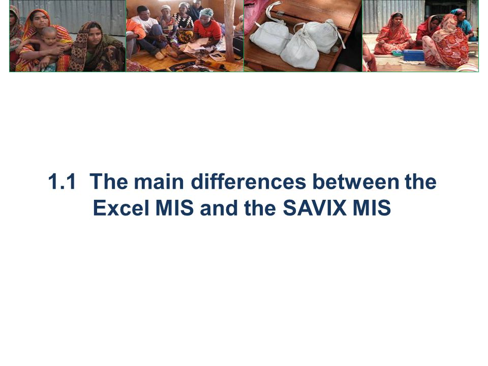 1.1 The main differences between the Excel MIS and the SAVIX MIS