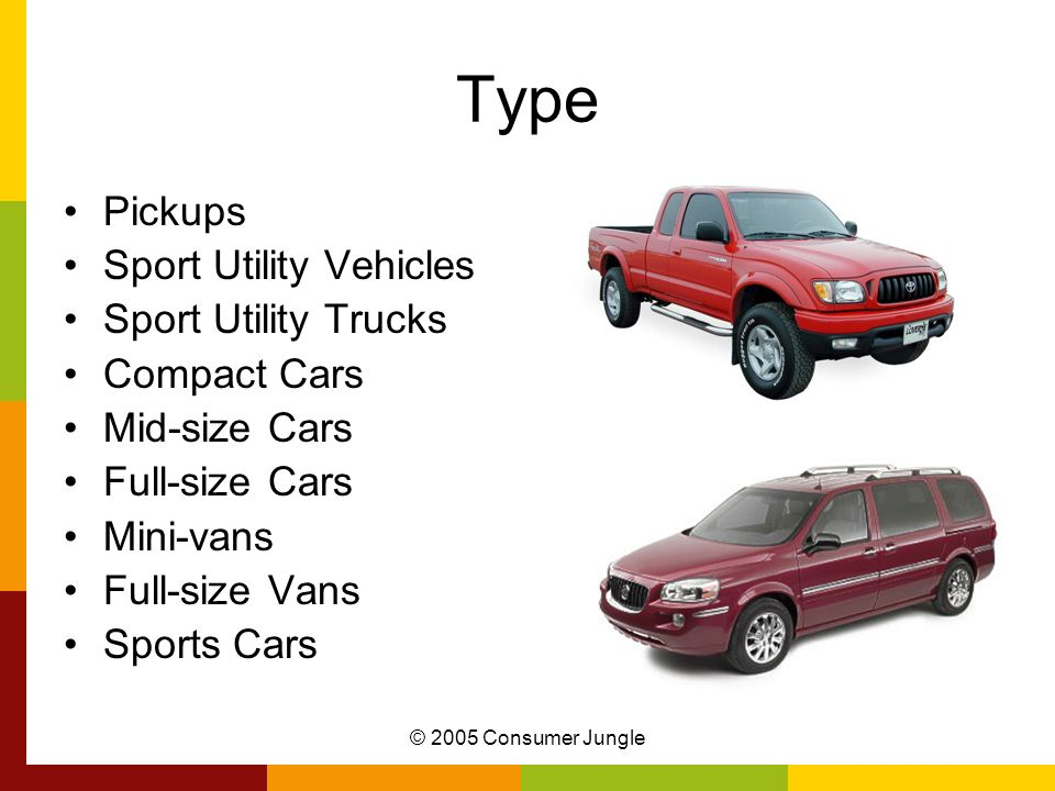 Type Pickups Sport Utility Vehicles Sport Utility Trucks Compact Cars