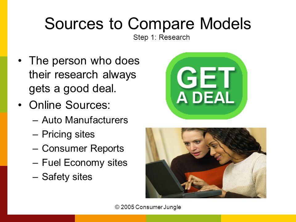 Sources to Compare Models Step 1: Research