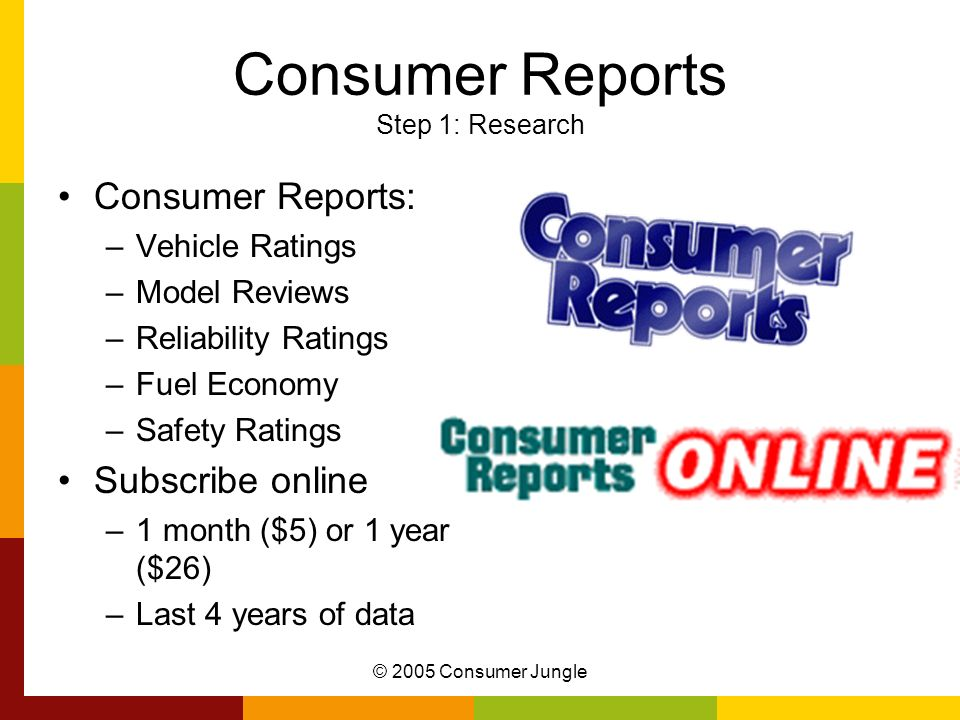 Consumer Reports Step 1: Research