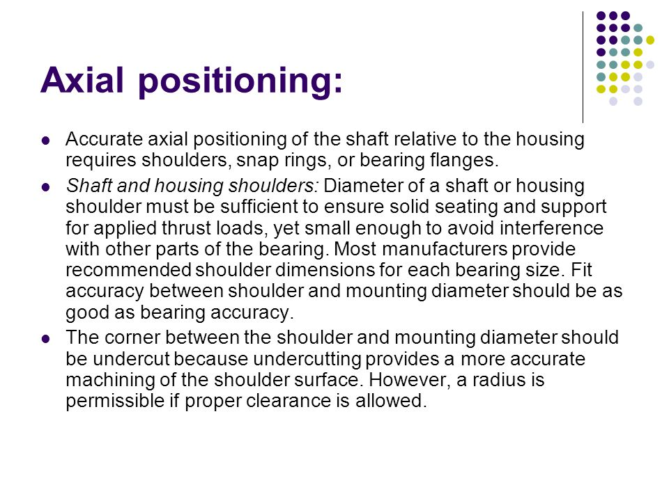 Axial positioning: Accurate axial positioning of the shaft relative to the housing requires shoulders, snap rings, or bearing flanges.
