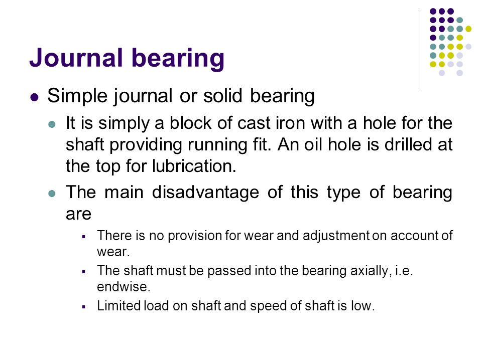 Journal bearing Simple journal or solid bearing
