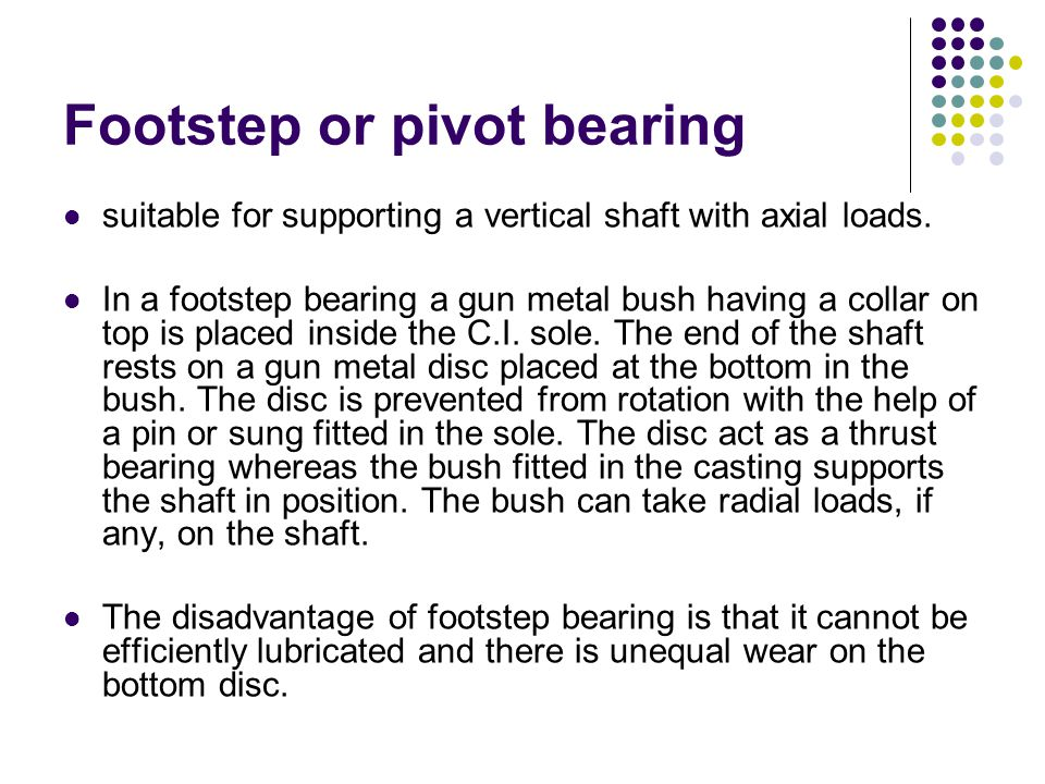 Footstep or pivot bearing