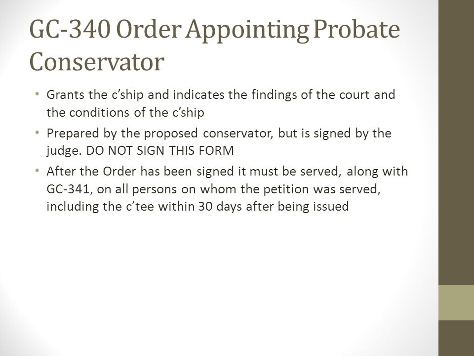 GC-340 Order Appointing Probate Conservator
