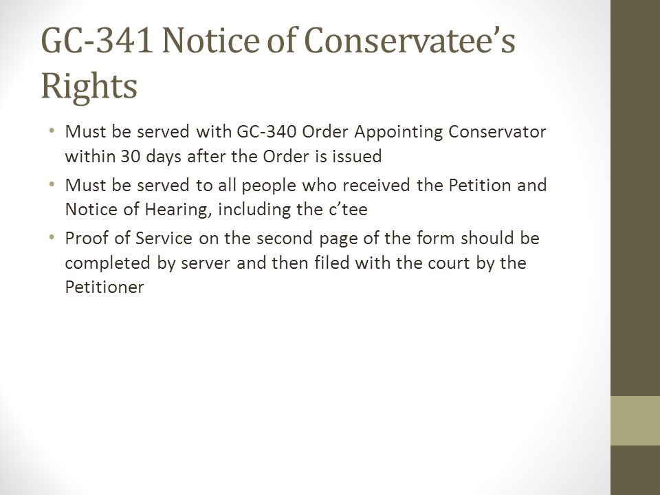 GC-341 Notice of Conservatee's Rights